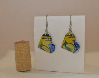 Lemon Small Heart Earrings made from Brisk Iced Tea Lemon can