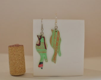Bird earrings made from Peace Tea Green Tea can