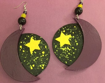 Black and Purple Moon and Star Earrings