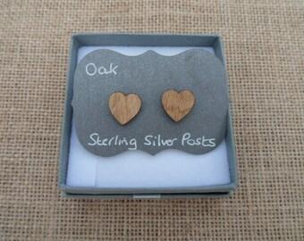 Oak Heart Stud Earrings