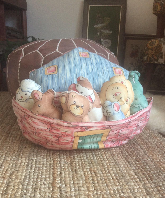 Handmade Noah s Ark Large Pillow with Pocket for Handmade