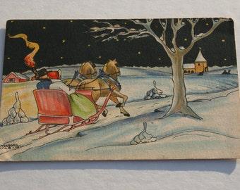 Ingeborg Klein Antique Swedish Unused Christmas Postcard, Horse Sleigh Ride, Vintage Scandinavian, God Jul Old Christmas Post Card