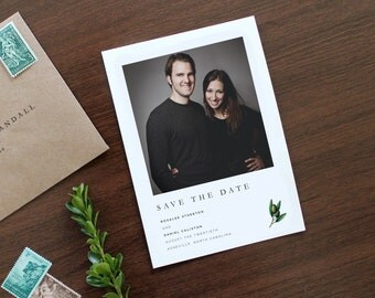 Modern Save the Date, Photo Save the Date, Olive Branch Save the Date, Simple Photo Save the Date, Photo Wedding Save the date, Wedding