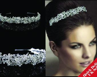 Sparkly FULL Crystal Wedding Bridal Flower Girl Tiara Prom Bridesmade Hair piece