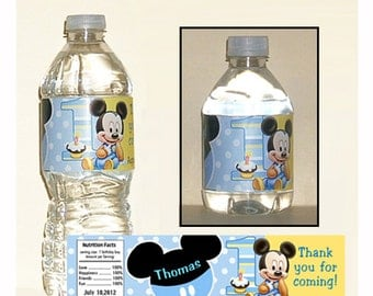 PRINTABLE - Mickey Mouse 1st birthday water bottle labels
