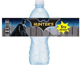 printable Batman birthday water bottle labels