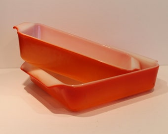 Vintage 441 and 435 Fire King Tangerine Orange Baking Pans - Orange Bakeware - Anchor Hocking Bake Ware