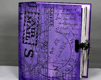 Handmade Art Journal Small - Mixed Media Journal - Art journal w/pockets - Purple Journal - Small Journal - Purple Mixed Media Book - 4-006