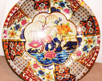 """Vintage Tin Rnd Tray Designed by Daher, Japanees Motif """"Made in England"""