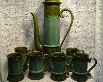 Mint Condition Vintage Norleans Japan Green Coffee Set with Bamboo or Weave look