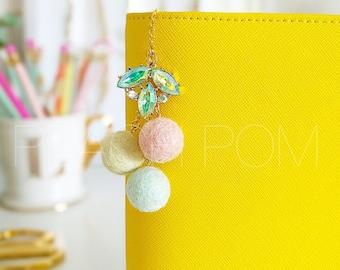 Peach Pom Felt Pom Planner Charm- Spring Love
