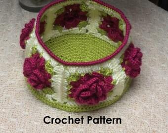 Flowery Crochet Basket- INSTANT DIGITAL DOWNLOAD