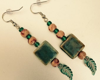 Turquoise and wood dangle earrings