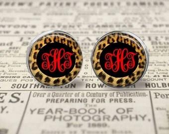 Chetah Print, Monogram Earrings, Glass Dome, Sterling Silver,Stud Earrings