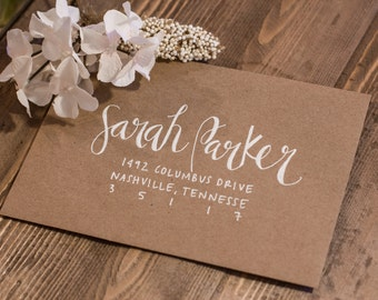 Wedding Invitation Calligraphy - White Ink on Kraft Paper