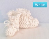 Crochet Baby Booties, white, blue, periwinkle, white and purple, handmade shoes, Newborn, 0-3 months, Unisex Kids Shoes, Booties & Crib shoe