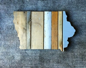 Iowa Reclaimed Wood State Outline Wall Art - Large