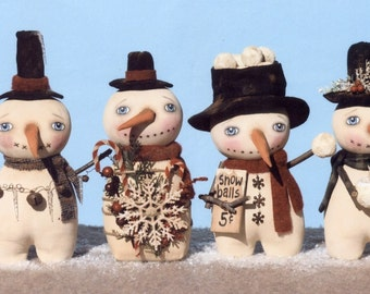 "PATTERN ""Prim Little Snow Stumps"" primitive snowman pattern"