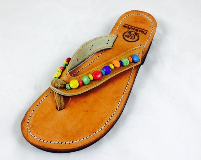 Handcrafted Beaded Leather Sandals - Colorful Beads - Fair Trade - Brown Leather Flip Flop Sandals - From Honduras - Free Shipping