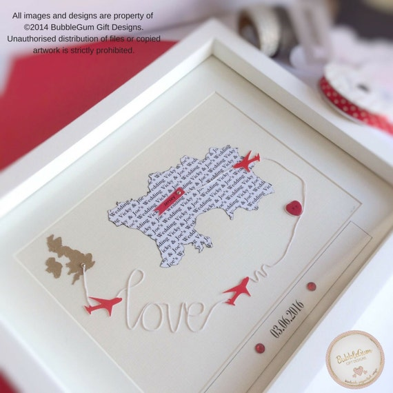 Anniversary gift personalised map travel idea our journey