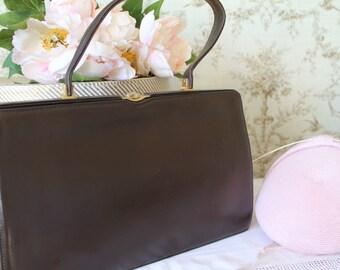 Vintage, 1950's Brown Leather Handbag