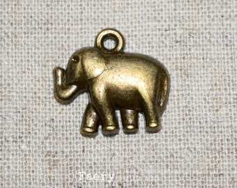 10 Bronze Tone Elephant Charms. Metal Charms, Bronze Charms, Small Elephant Pendants, Bronze Elephants, Nickel Free Charms, Bracelet Charms.