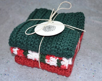 Set of 3 Christmas Washcloths, Cotton Washcloths, Christmas Crochet Cotton Washcloths