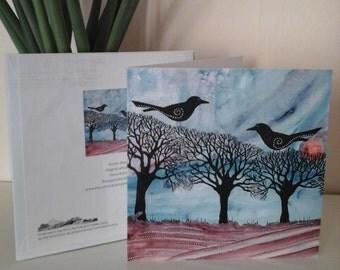 bird card,raven card,fine art card,crow,landscape greeting card,pagan greeting card,spiritual greeting card,raven greeting card,rave,tree