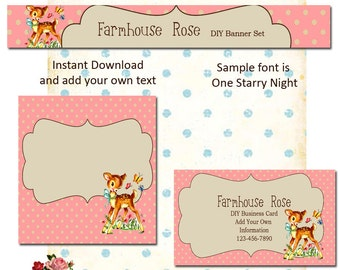 Updated Baby Deer Pink 5 Piece DIY Shop Banner Avatar and Business Card Graphics Set Instant Download