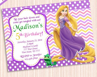 Rapunzel Tangled Invitation - Tangled Birthday Invitation - Tangled Birthday Party