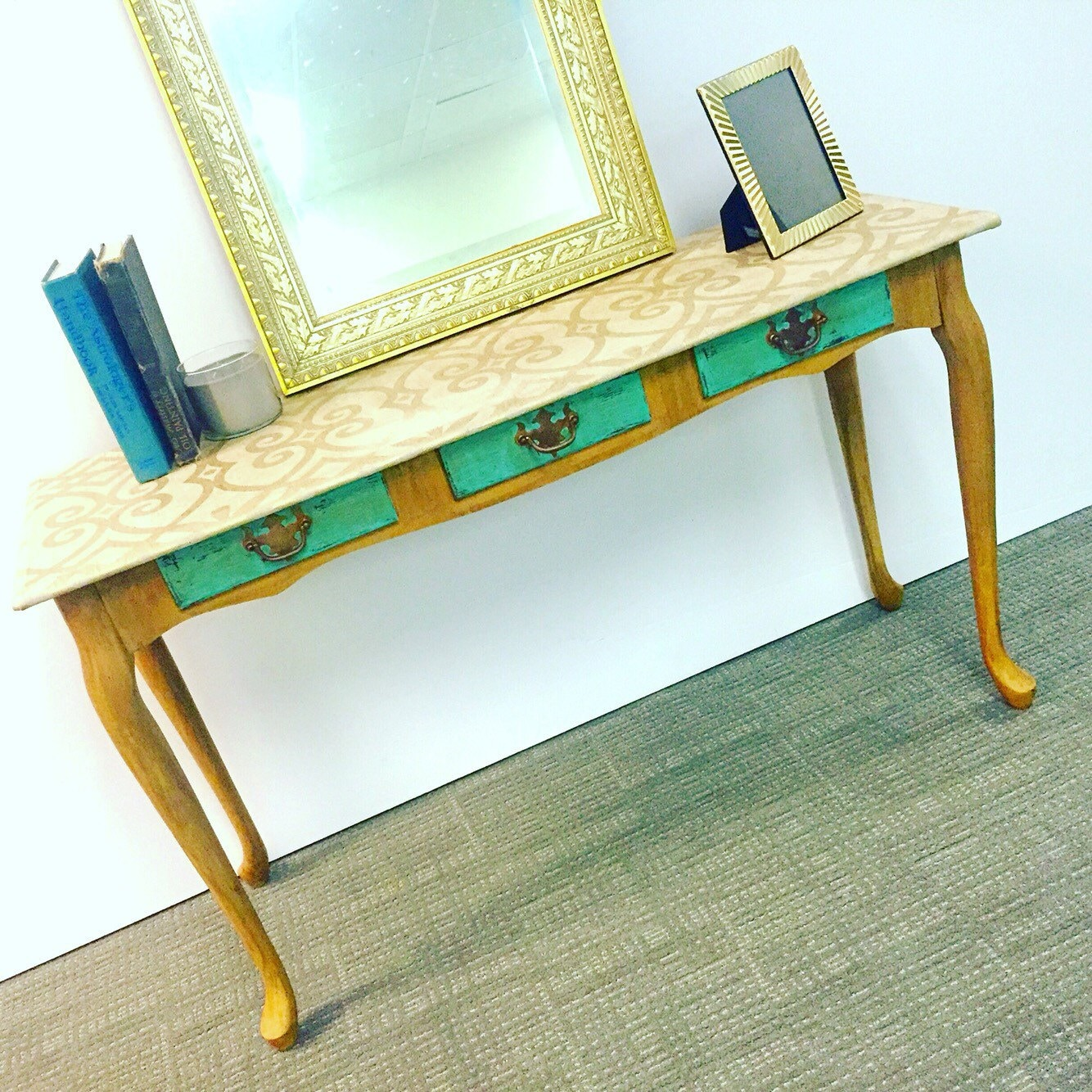Yellow table console table sofa table entryway table shabby for Sofa table yellow