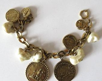 Vintage 60s ROMAN COINS & Pearls Charm Bracelet