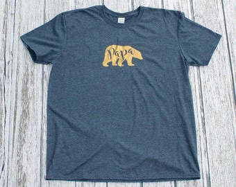 Papa Bear, Tee Shirt, T-Shirt, Papa, Papabear, Gift, Father's Day, Christmas Gift, Gray and Gold, Gold, Metallic, Dad
