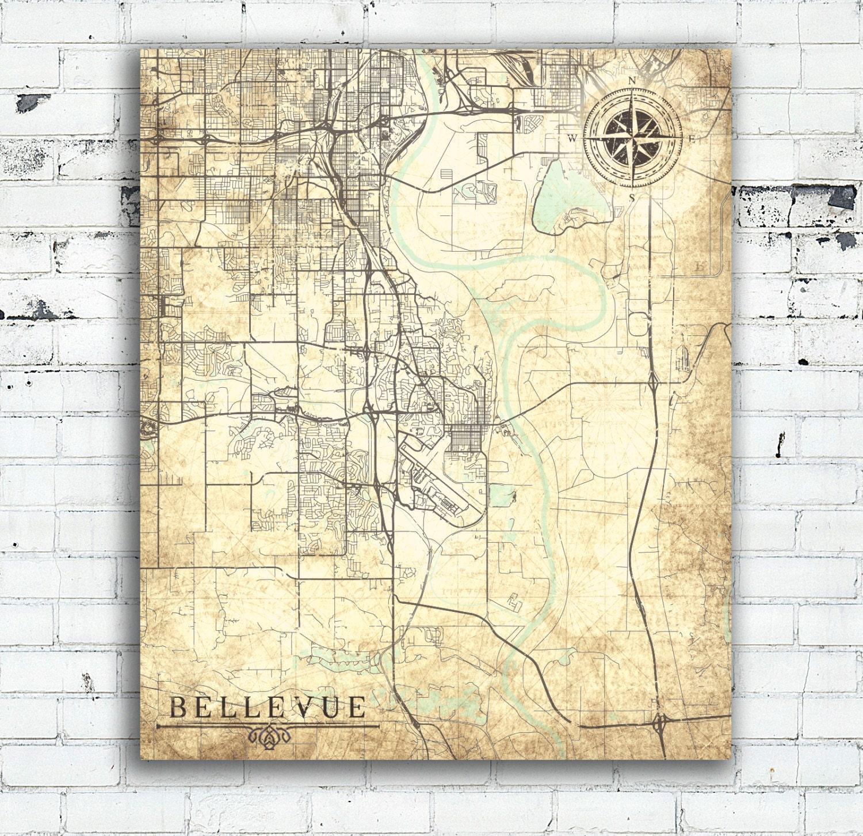 BELLEVUE NE Canvas Print Nebraska City Town Plan Vintage map