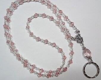 Pink Dewdrops Lanyard,  Beaded Lanyard,  Badge ID Holder, Lanyard ID Holder,  Beaded Badge Holder, Beaded Lanyard - Breakaway optional