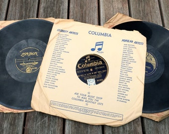 Vintage 78 RPM Records, Decca 78 Record,  Columbia Music Notes 78 Record, Vintage Vinyl