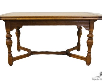 """Antique 1920's Gothic Revival Jacobean 84"""" Draw Leaf Dining Table"""