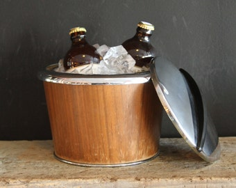 Thermos Brand Chrome and Walnut Ice Bucket with Lid: 1950s