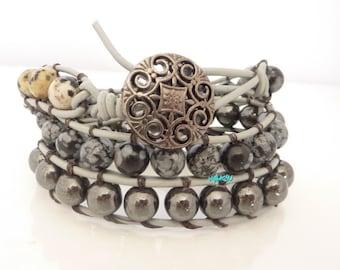 Wrap bracelet, leather, gemstone beads: Dalmatian jasper, hematite, snowflake obsidian beads.