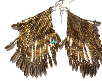 Gold-plated and light metalic bronze earrings