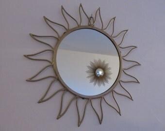 Ancien grand miroir soleil dor bomb oeil de par for Ancien miroir soleil