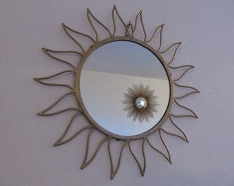 ancien grand miroir soleil dor bomb oeil de par intemporeldesign. Black Bedroom Furniture Sets. Home Design Ideas