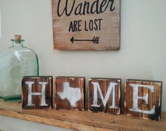Rustic Texas Blocks, REVERSIBLE, Love Texas, Texas Home, Texas Sign, Texas Decor, Rustic Decor, TX Love, TX Home, 3.5x14