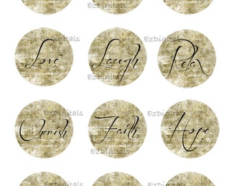 "Cabochon collage sheet, Inspirational Quotes 1""  Round cabochon for Bottle caps, Pendants and crafts, Printable Digital Collage Sheet"