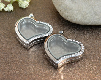 1pcs 29x34mm floating charms locket,heart shape magic locket pendant,wish box with white crystals P7718