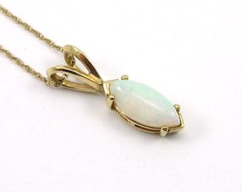 14K Yellow Gold Opal Necklace/Pendant/14K Firey Opal Necklace/Navette Opal Pendant/October Birthstone/Fine Jewelry