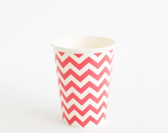 10 Red Chvron paper cups