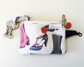 Vintage Shoes Key Case/Chain. Leather Key Case.  Key Pouch. Hand made by Orange bicycle designs.