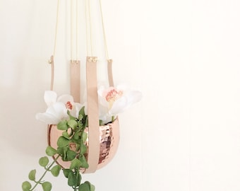 LIMITED EDITION - Copper and leather hanging planter
