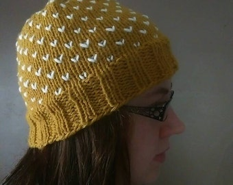 Yellow and White Knitted Womens Warm Winter Hat Beanie